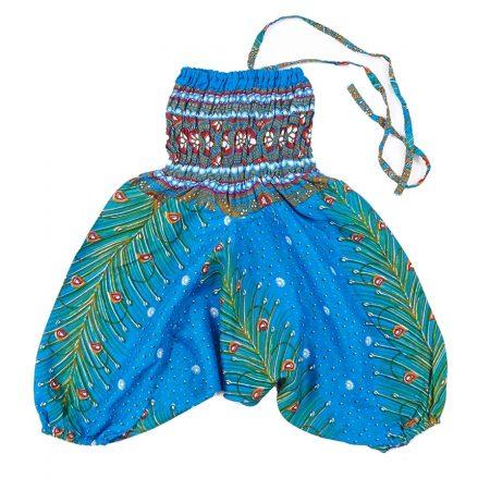 Zomer Baggy broek veertjes-blauw