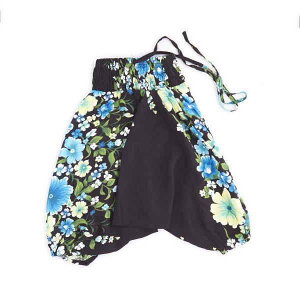 Zomer Baggy broek flower-blauw