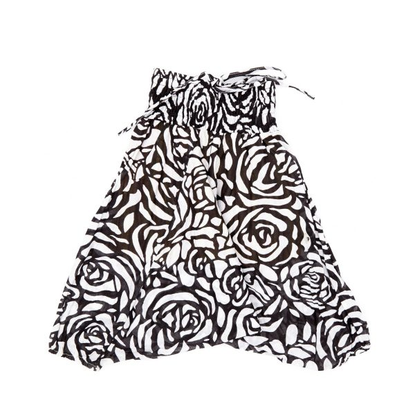 Zomer Baggy broek bloem-zwart/wit