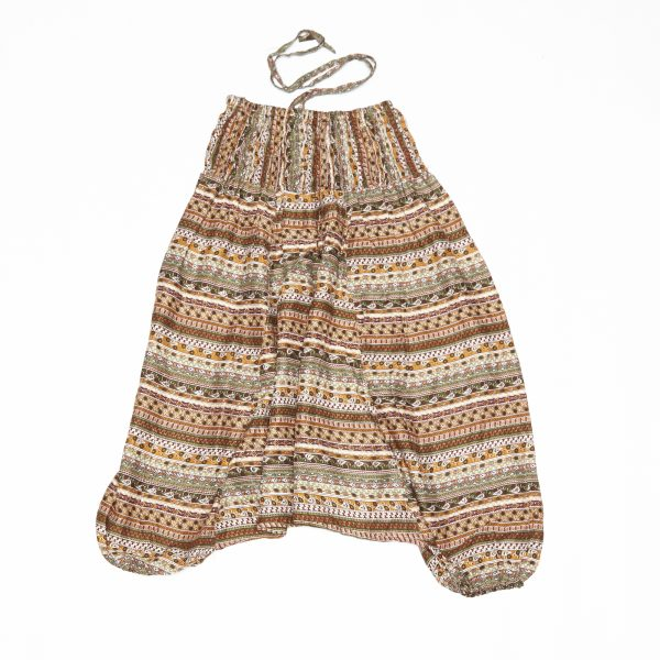 Zomer Baggy broek streep-bruin