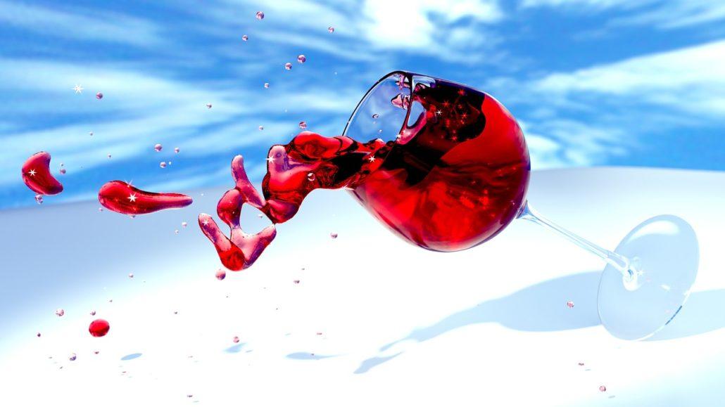 rode wijn over mijn shawl